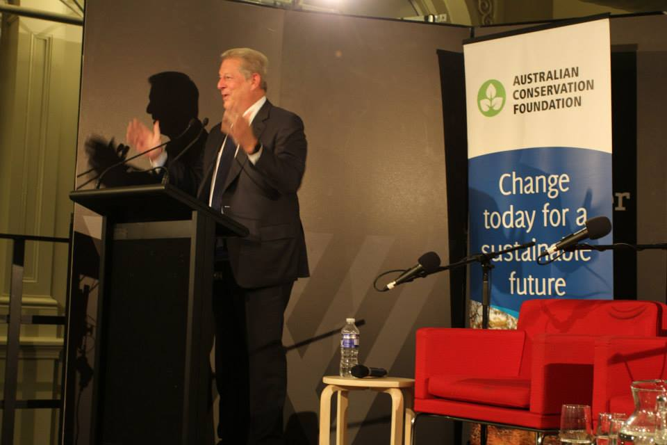 Al Gore speaks at The Wheelers Centre, Melbourne on 26 July 2015. (Photo: Australian Conservation Foundation)